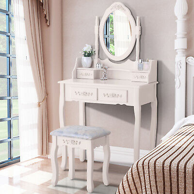 White Makeup Mirror Dressing Table with 4 Drawers and Stool Bedroom Furniture