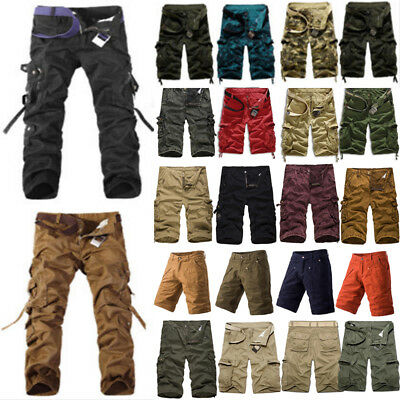 Men Cargo Pants Shorts Trousers Casual Military Camo Combat Army