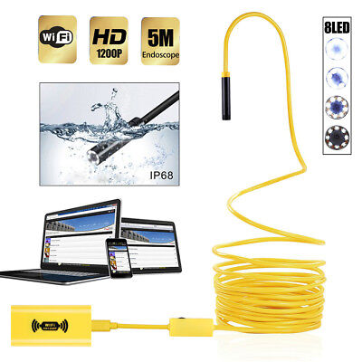 8LED WiFi 5M Endoscope Borescope Snake Tube Camera 1200P IP68 For iPhone Android