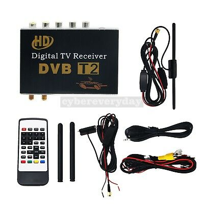 DVB-T2 Digital TV Receiver Tuner HD Mobile Car TV Box USB CVBS HDMI Dual Antenna