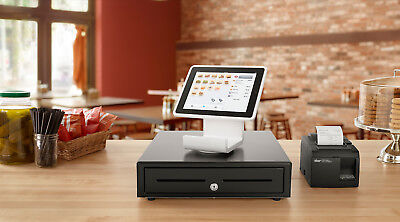 Square cash register, with cash box, chip reader and printer.