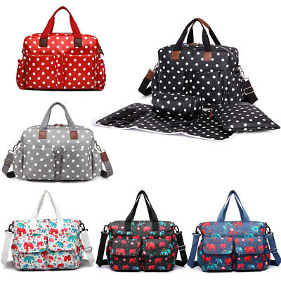 4cs Polka Dots Mummy Maternity Baby Changing Bag set Nappy Diaper Matt Coated