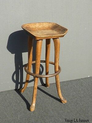 Vintage French Country Style Wood Barstool ~ Farmhouse Industrial Bar Stool
