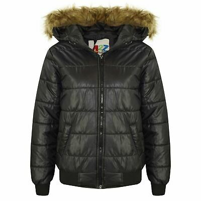 Boys Girls Jackets Kids Black Maya Faux Fur Hooded Padded Puffer Coats 5-13 Year