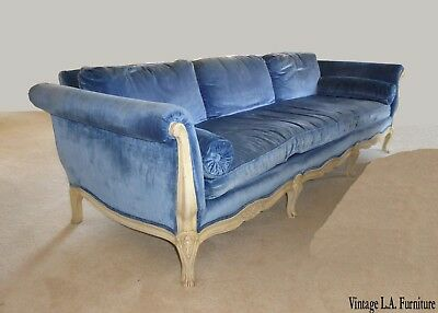 Gorgeous Vintage French Provincial Royal Blue Velvet Settee Sofa ~ Long