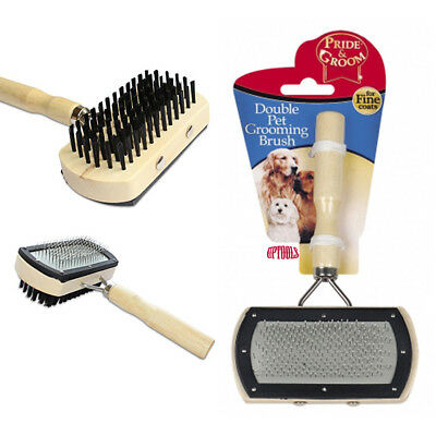 Double Sided Pet Cat Dog-Grooming Brush Wooden Handle Pride Groom Comb Rakes