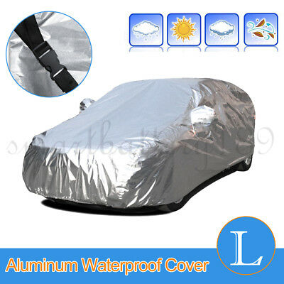 Large Aluminum Waterproof 2 Layer Cover Rain Dust Snow resistant UV Car cover L