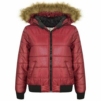 Boys Girls Jackets Kids Wine Maya Faux Fur Hooded Padded Puffer Coats 5-13 Years