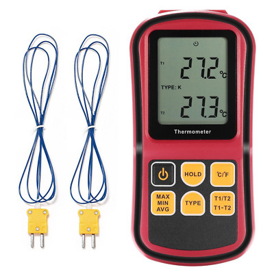 LCD Dual Channel Digital Thermometer with Two K- type Thermocouples for