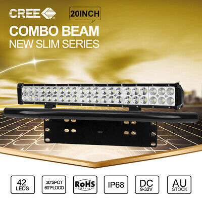 "20 inch CREE LED Light Bar Spot Flood With 23"" Black Number Plate Frame"