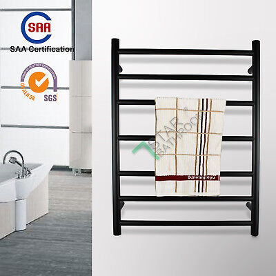 SAA&IP55 Wall Black Electric Heated Towel Rack Stainless Warmer Rail Round 7-Bar