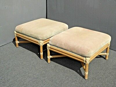 Pair of Vintage McGuire Furniture Bamboo Rattan Sage Upholstery Ottomans