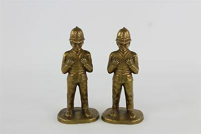 Set of two vintage heavy brass policemen statues 210mm tall