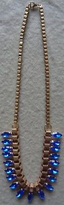 Deco Style Necklace Gold Plated Blue Sapphire Rhinestones On Box Chain Costume