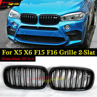 For BMW X5 F15 X6 F16 grill Gloss Black Dual Slat M Look Front ABS Grille 2014+