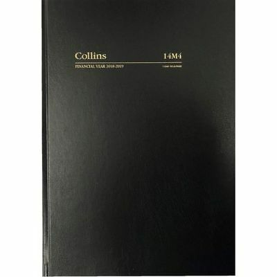 2018 2019 Collins A4 Day to A Page DTP Financial Year Diary Hardcover 14M4 BLACK