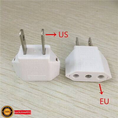 2PCS Euro to US Conversion Plug Adapter American European Travel Adapter White