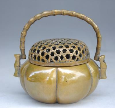 Old Marked Chinese Dynasty brass Hollow Out Incense Burner Censer