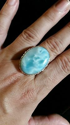 Stunning Larimar Handcrafted .925 Solid Sterling Silver Ring Size 12 (2026)