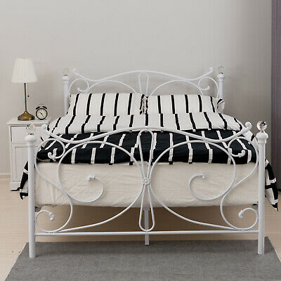 NEW 4FT6 Double Sleeper White Metal Bed Frame Bedstead Cry Finials Bedroom