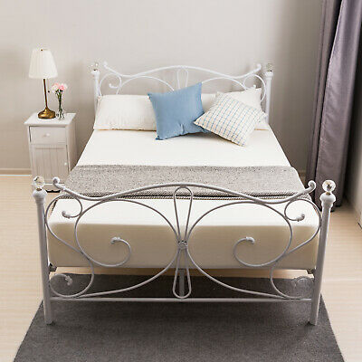 4FT Small Double White Metal Bed Frame Sturdy Bedstead with Crystal Finials