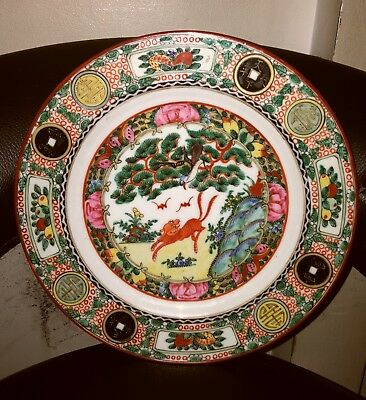 antique oriental chinese/japanese famille rose plate foo dog and bats