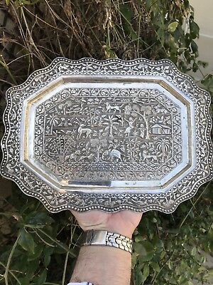 Antique 19 C Burmese Chinese Indian Kashmiry Solid Silver Tray Salver Birds Lion