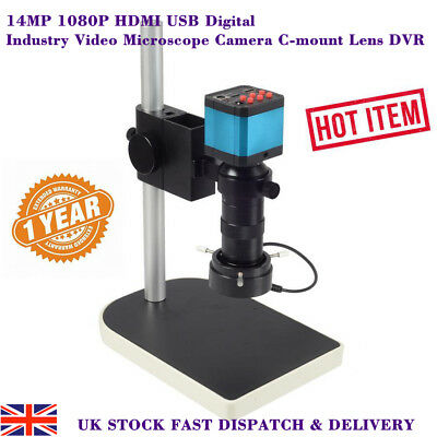 14MP 1080P HDMI USB Digital Industry Video Microscope Camera C-mount Lens DVR