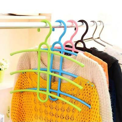 3Layers Clothes Hanger Rack Fishbone Shape Hanging Closet Space Save Plastic NEU