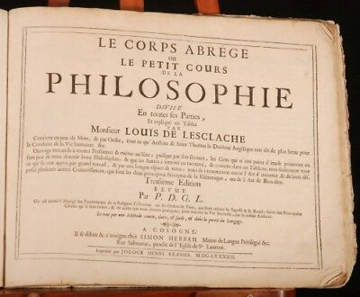 1692 PHILOSOPHIE by Louis de LESCLACHE In FRENCH
