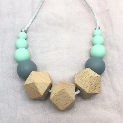 Baby BPA Free Silicone Teething Beads Necklace Hexagon Beech Wood Sensory Jewely