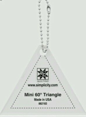 """60 DEGREE TRIANGLE MINI TEMPLATE KEYCHAIN 2.5"""" QUILTING patchwork,sewing bnew"""