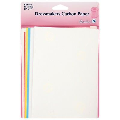 HEMLINE 5 SHEETS DRESSMAKERS CARBON PAPER WHITE, BLUE,RED&YELLOW 69cm x 28cm bn