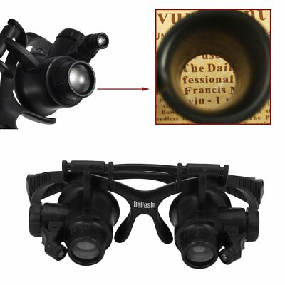 Occhiale da sole 9892G 10X 15X 20X 25X LED Jeweler Watch Repair Magnifying Loupe