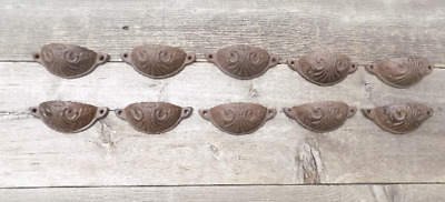 "10 Cast Iron Brown 3 3/4"" Cup Pulls Drawer Cabinet Bin Handles Rustic Vintage"