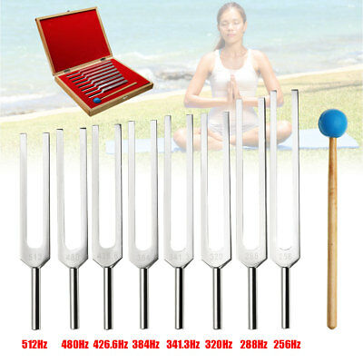 8Pcs 256-480Hz Aluminum Tuning Fork For Sound Vibration Therapy+Mallet+Box Set
