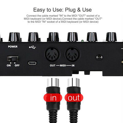 1Pc Universal MIDI to USB IN-OUT Cable Converter Line Music Accessory