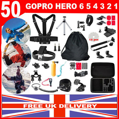 50 In 1 Accessories GoPro Hero 6 5 4 3 2 1 Kit Bundle Camera Outdoor Sports Set