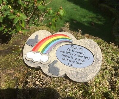 Rainbow Bridge Stone Personalised Memorial for Rabbit Garden /Ashes scattered