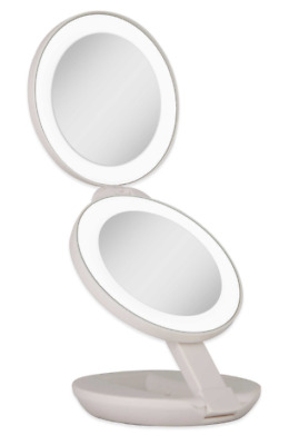 Led Lighted Travel Makeup Mirror Dual Magnifying 1x 10x Compact