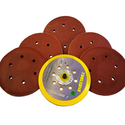 50Pc Sanding Discs Assorted Grit 150mm Sander Pads Hook And Loop & Backing Pad