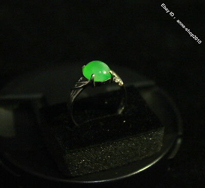 16mm Chinese 100% Pure Natural Green Jade Jadeite Pure Silver Ring DQYLM R