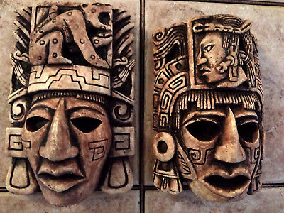Mayan Maya Aztec Head Mexico Inca Mask Stone Statue Sculpture Pre-Columbian Art