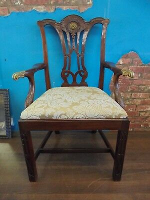 chipendale revival,mahogany carver chair,antique style,brass detail.mid 20th c
