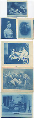 Variety Of Classic Works Of Art On Cyanotype.  6 Set.