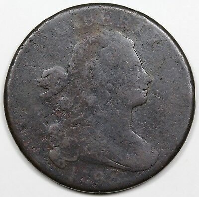 1798 Draped Bust Large Cent, Style 2 Hair, scarce S-165, R.4, VG detail