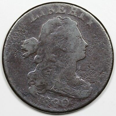 1800/79 Draped Bust Large Cent, Style 2 Hair, scarce S-193, R.4, VG detail