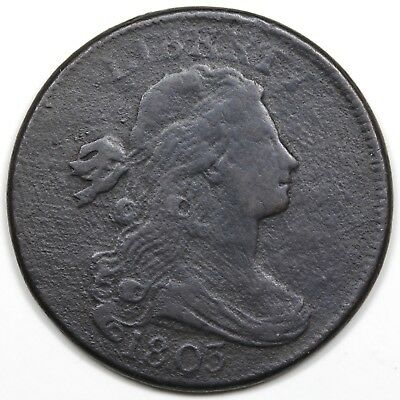 1803 Draped Bust Large Cent, Small Date & Fraction, S-262, R.3, VF detail