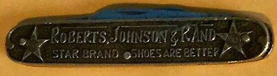 Vintage pocket knife ROBERTS,JOHNSON & RAND STAR BRAND SHOES Are BETTER