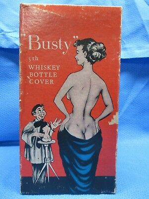 Vintage Busty 5th Whiskey Bottle Cover with Box